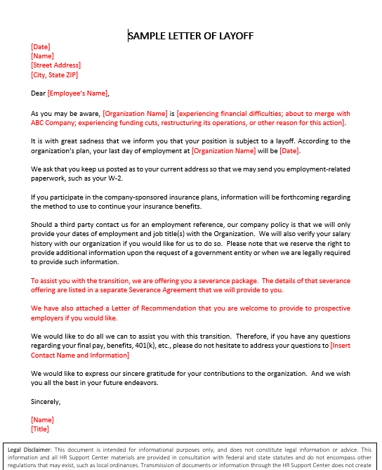 Sample Layoff Letter To Employee from www.thinkhr.com
